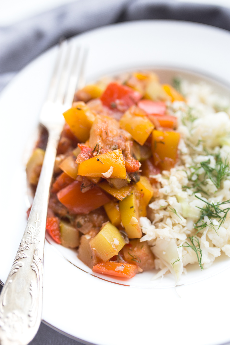 post dąbrowskiej przepisy, ryż z kalafiora, leczo postne, leczo warzywne