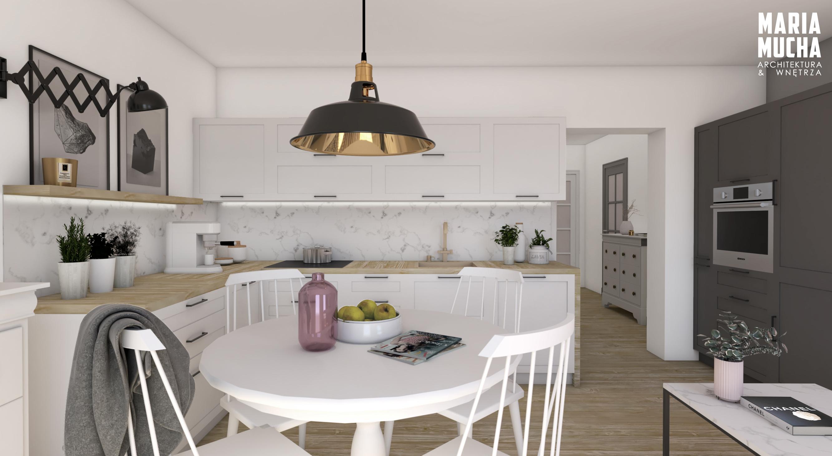 kuchnia w bloku, wizualizacja kuchni, biała kuchnia, ispiracje kuchenne