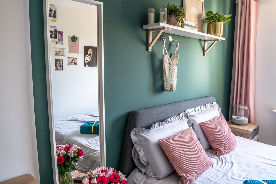 jak urządzić małą sypialnię w bloku, metamorfoza, sypialnia, farba, becker, sypialnia, mamagerka