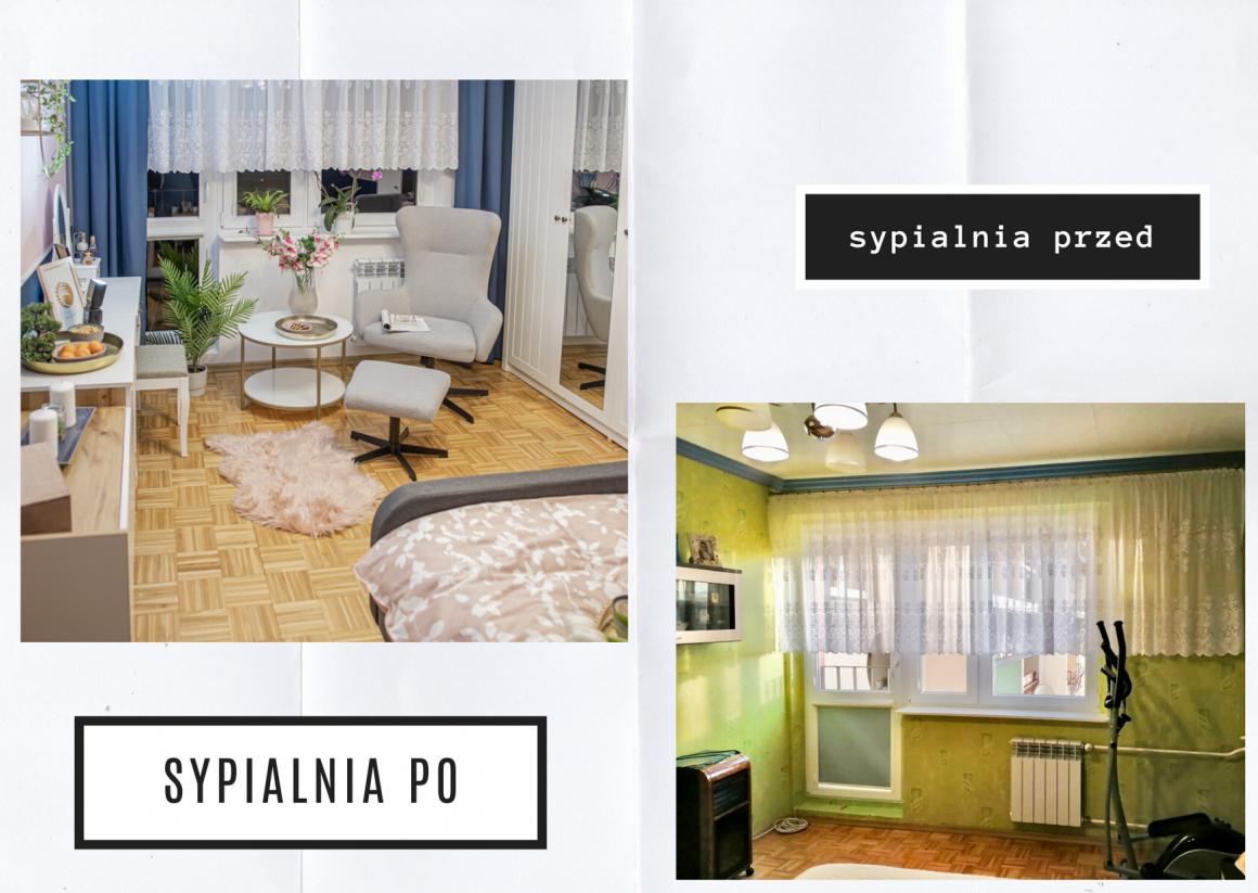 metamorfoza dużej sypialni, granatowa sypialnia, sypialnia w bloku, mamagerka, angelika witaszewska, różowa sypialnia, , fotel w sypialni, strefa odpoczynku