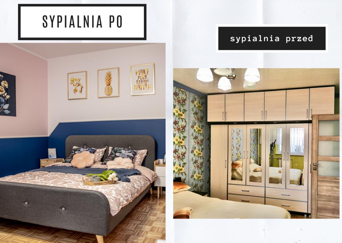 metamorfoza dużej sypialni, granatowa sypialnia, sypialnia w bloku, mamagerka, angelika witaszewska, różowa sypialnia,